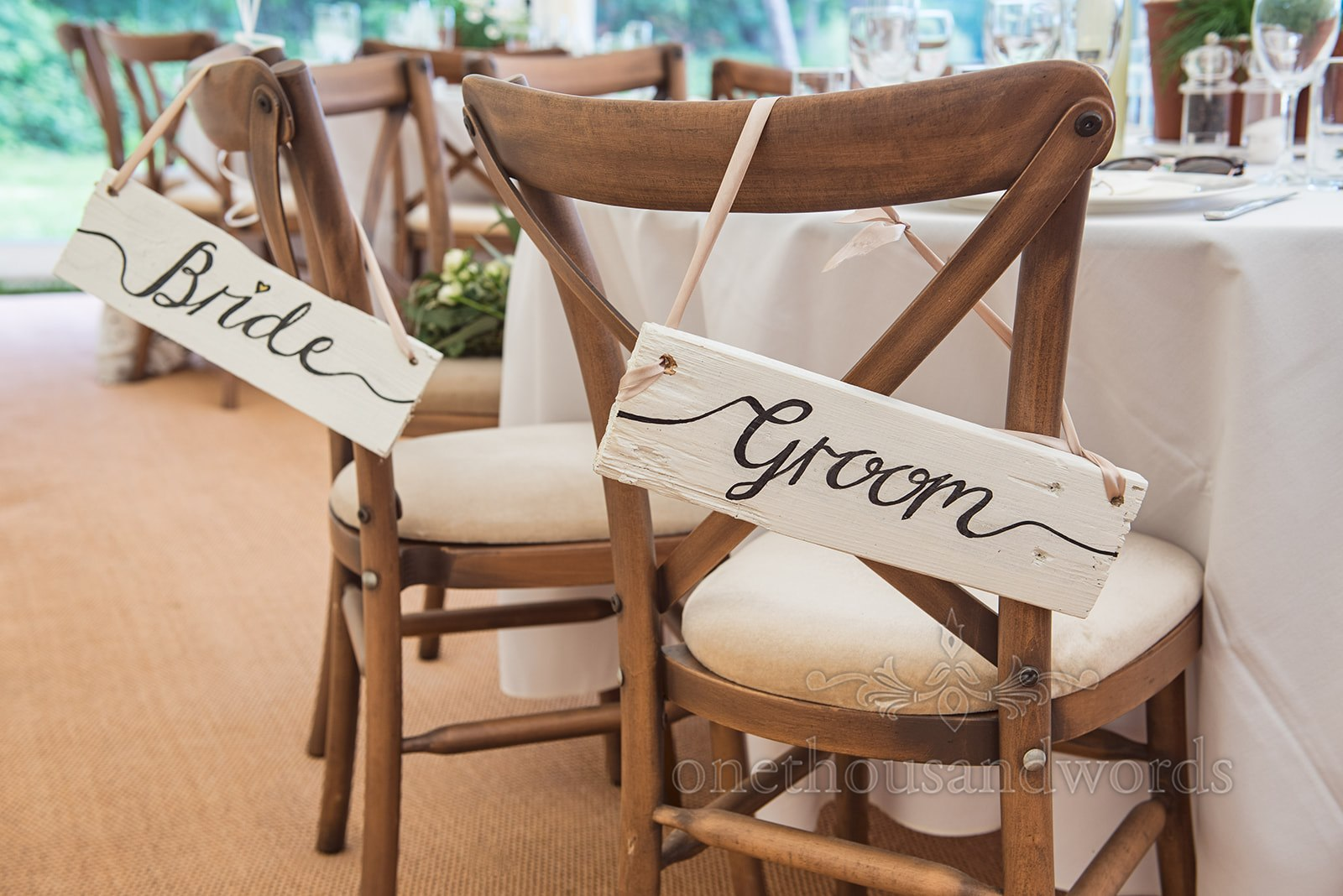 One Thousand Words Photography Bride and Groom Seats at Wedding Breakfast