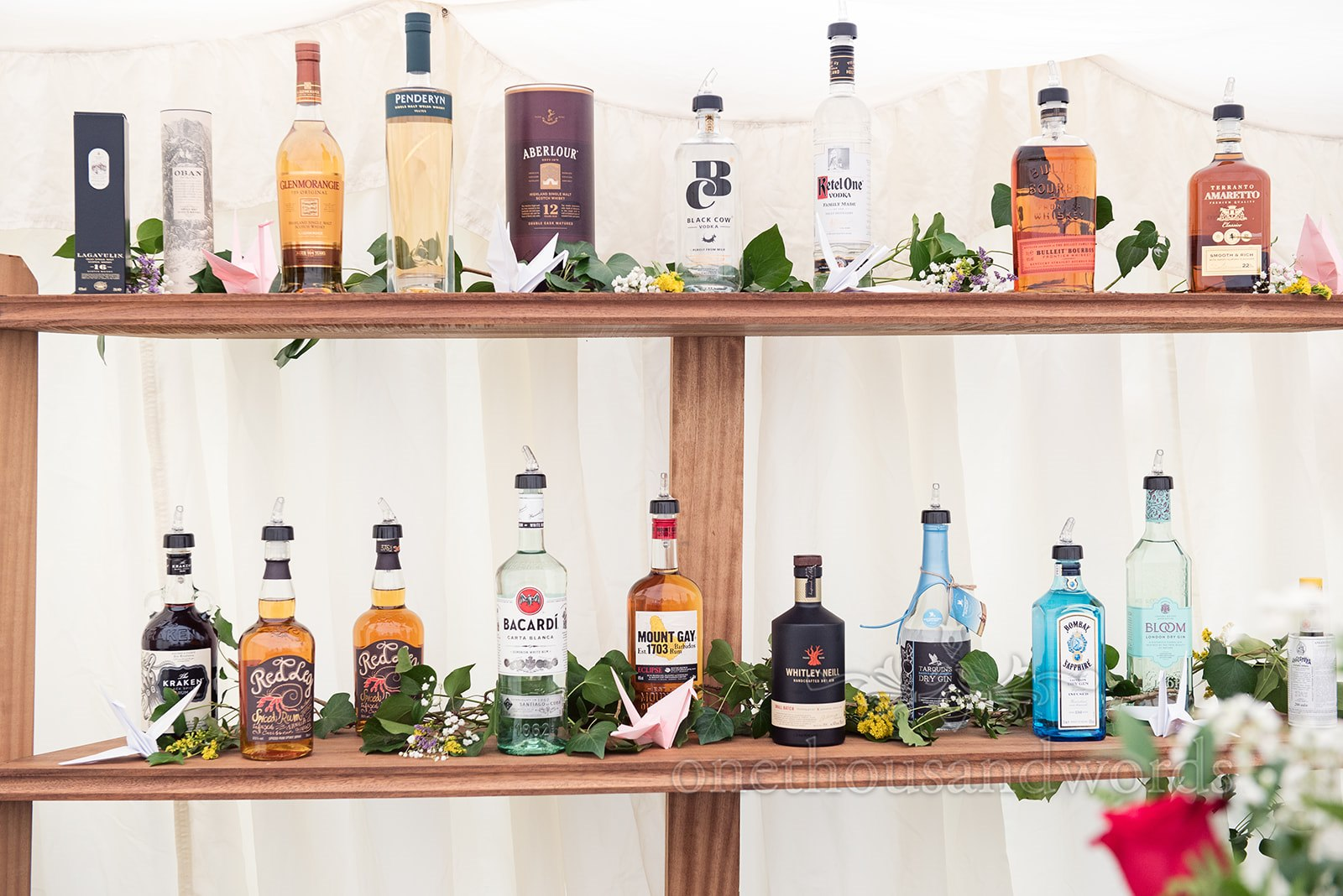Well stocked bar at a Wedding Breakfast - One Thousand Words Photography