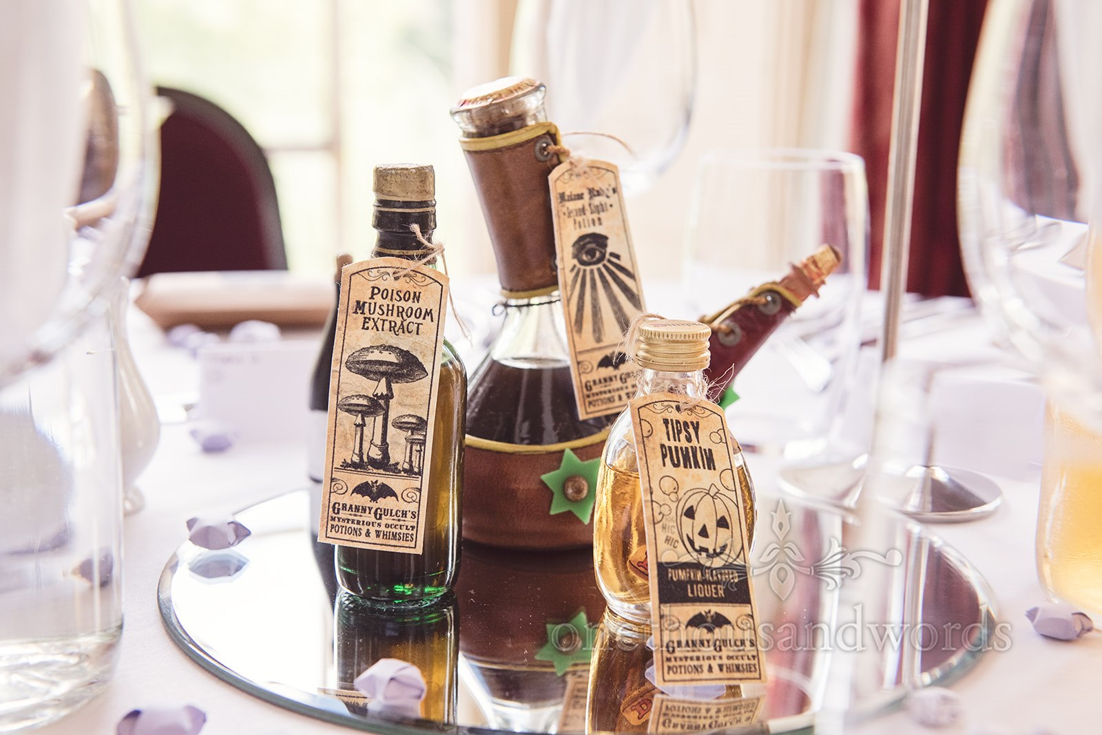 Harry Potter Style Wedding Breakfast Drinks - One Thousand Words Photography