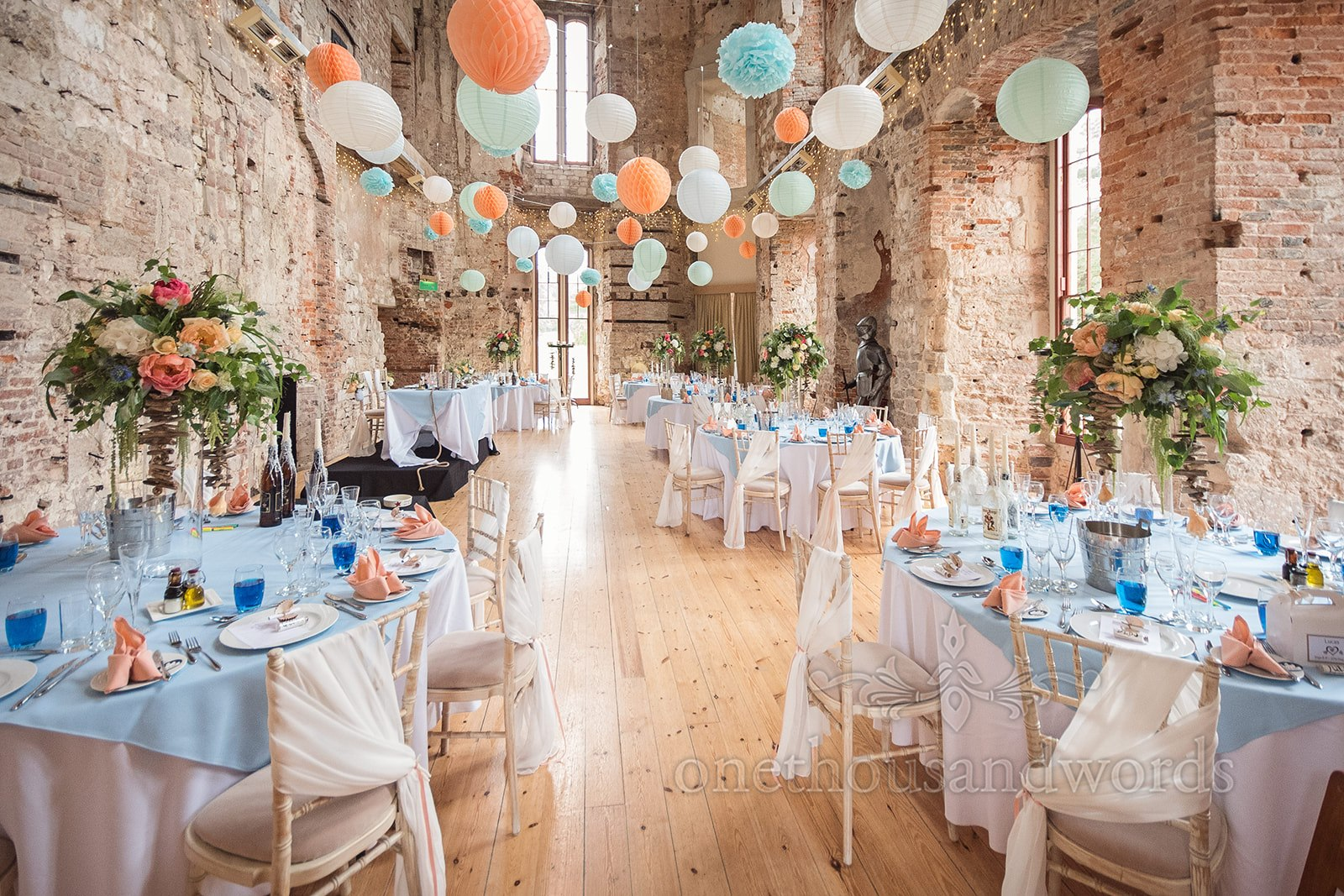 Lulworth Castle Wedding Breakfast Setup - One Thousand Words Photography